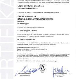 CE Certificato per legno strutturale