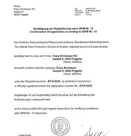 ISPM 15 Registrierungsbestätigung