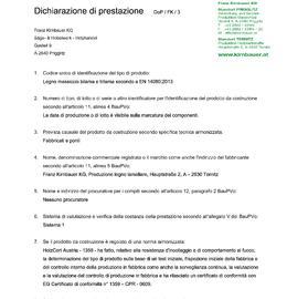 Dichiarazione di prestazione (DOP) Bilama/Trilama (DUO/TRIO)