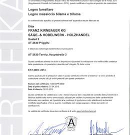CE Certificato per legno lamellare (BSH) - legno massiccio Bilama/Trilama (DUO/TRIO)