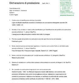Dichiarazione di prestazione (DOP) Legno massiccio