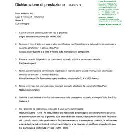 Dichiarazione di prestazione (DOP) BSH
