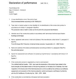 Declaration of performance (DOP) Glue laminated timber BSH