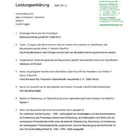 Leistungserklärung Balkenschichtholz DUO/TRIO