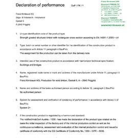Declaration of performance (DOP) Solid timber